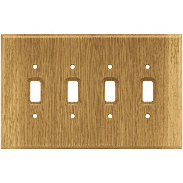 Wood Square Quad Switch Wall Plate