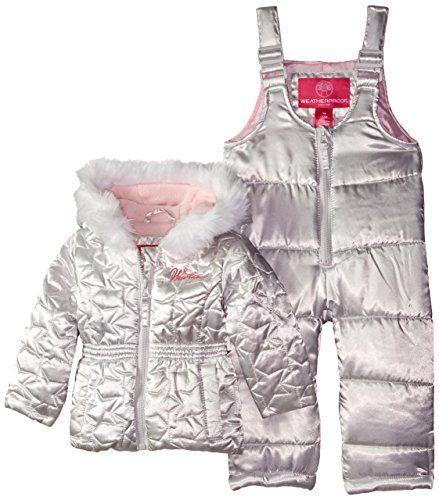 190bb69f7796 Weatherproof BabyGirls Infant Star Print Snowsuit Silver 18 Months ...