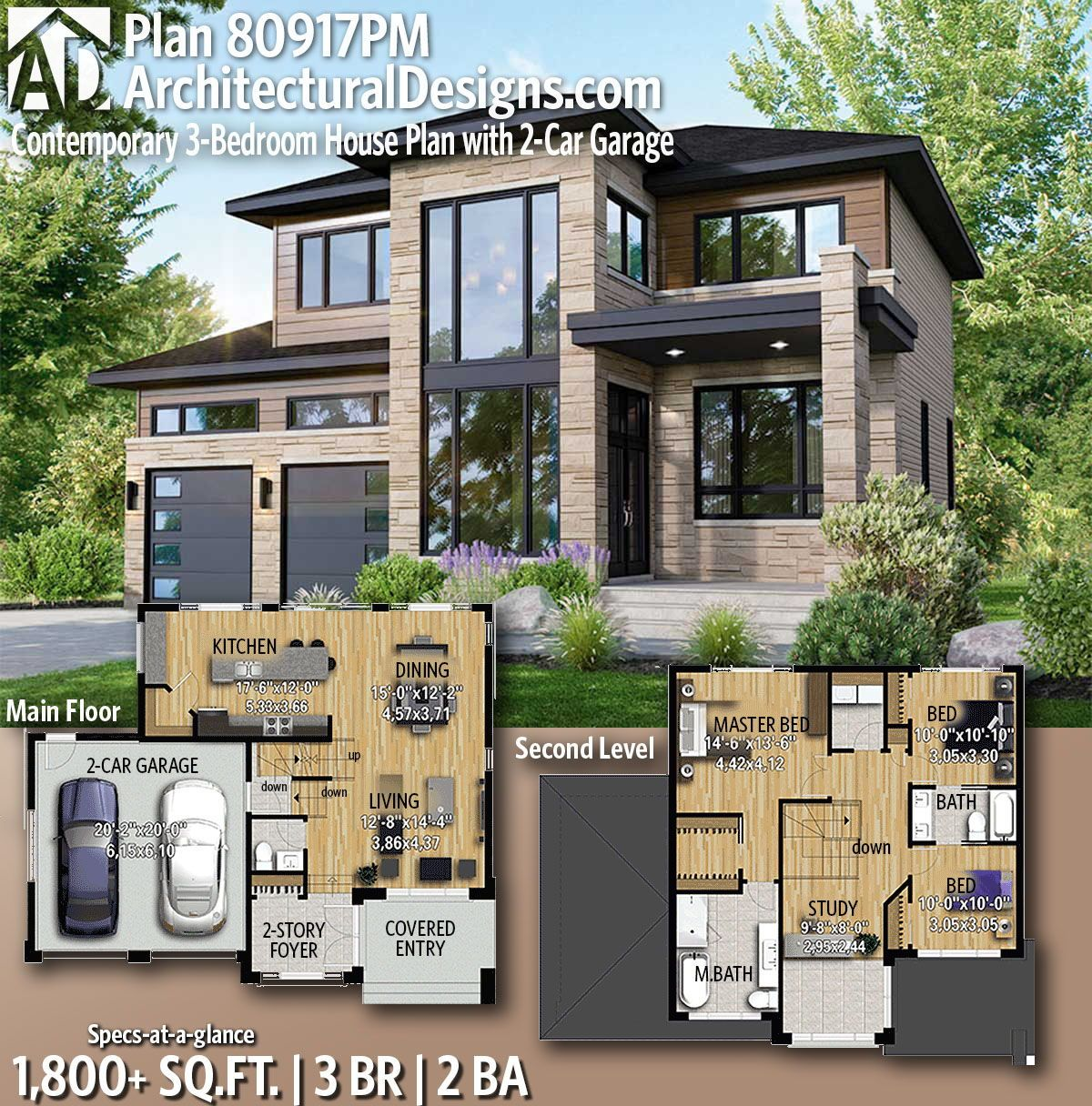 Plan 80917pm Contemporary 3 Bedroom House Plan With 2 Car Garage