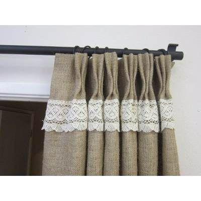 Divinas cortinas en arpillera convinadas con puntilla - Puntillas para cortinas ...