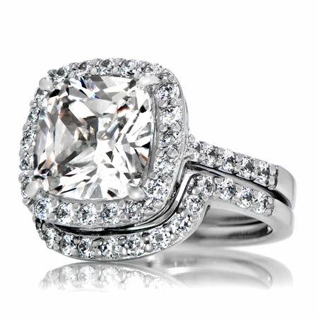 Sheeras Faux Diamond Wedding Ring Set Cushion Cut