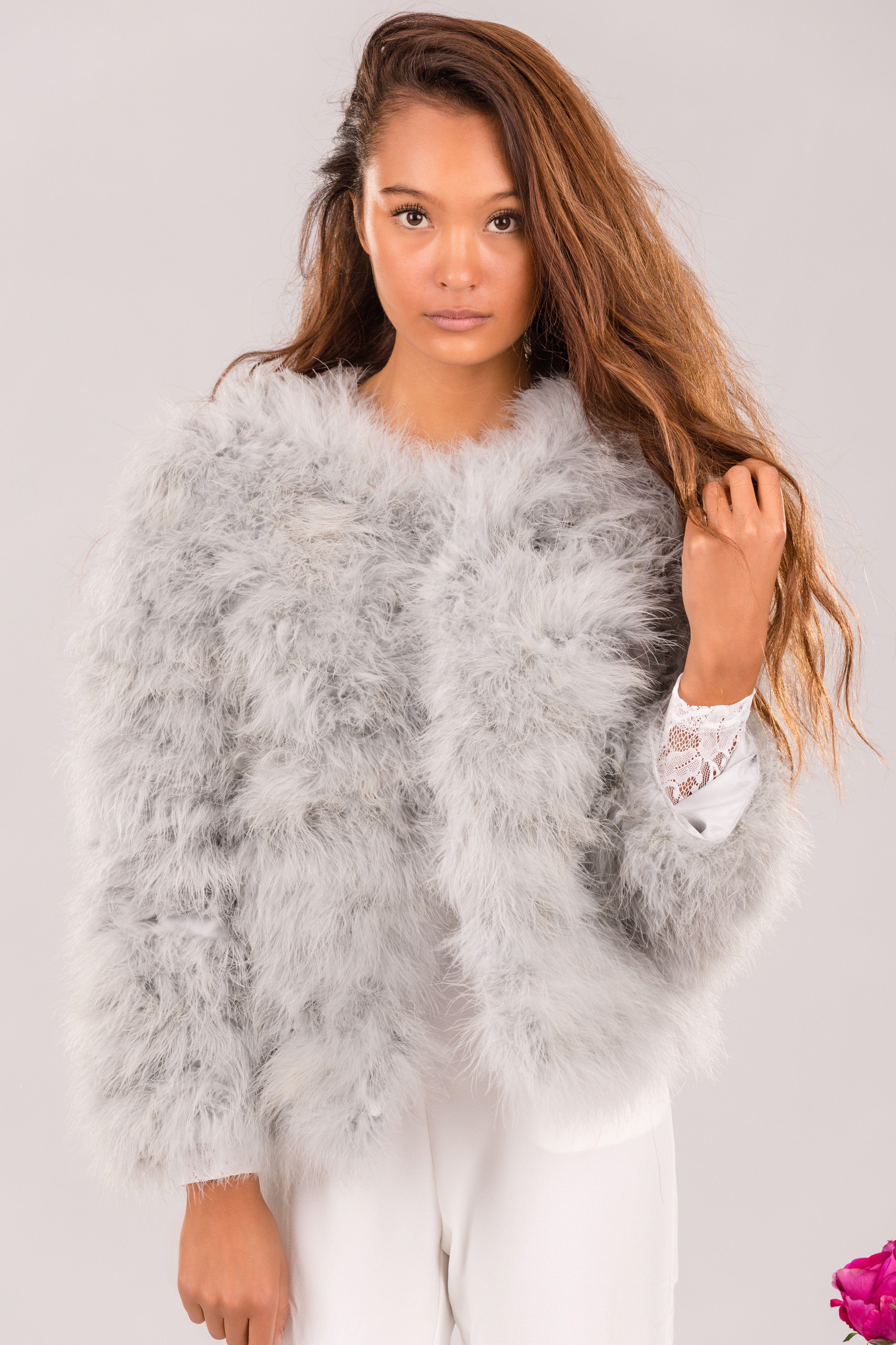 3e1a3cde Faux fur jakcet - Light Gray Ostrich Feathers, Faux Fur, Fur Coat, Fur