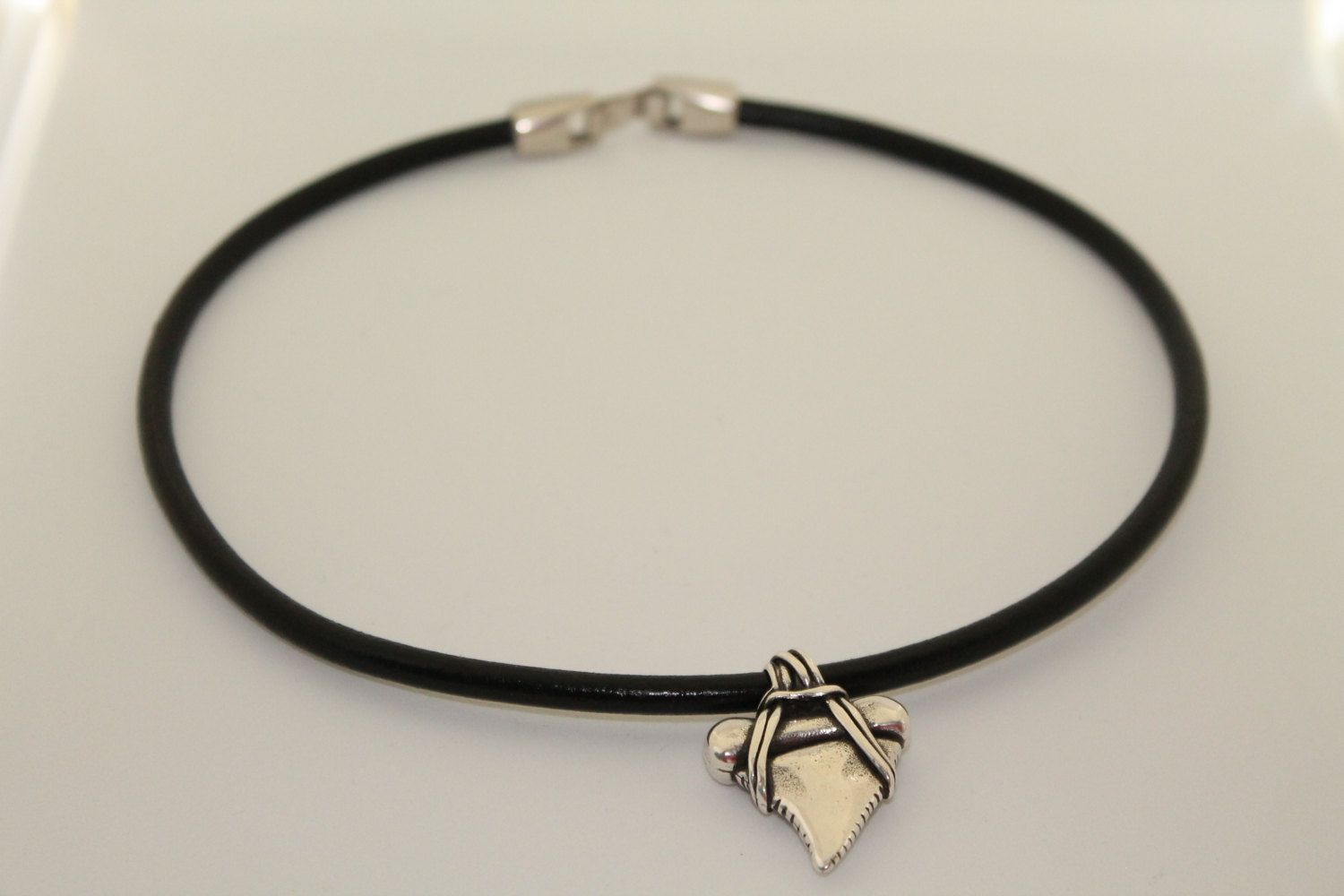 silver product leather handcrafted designs black full and heishi modern necklace