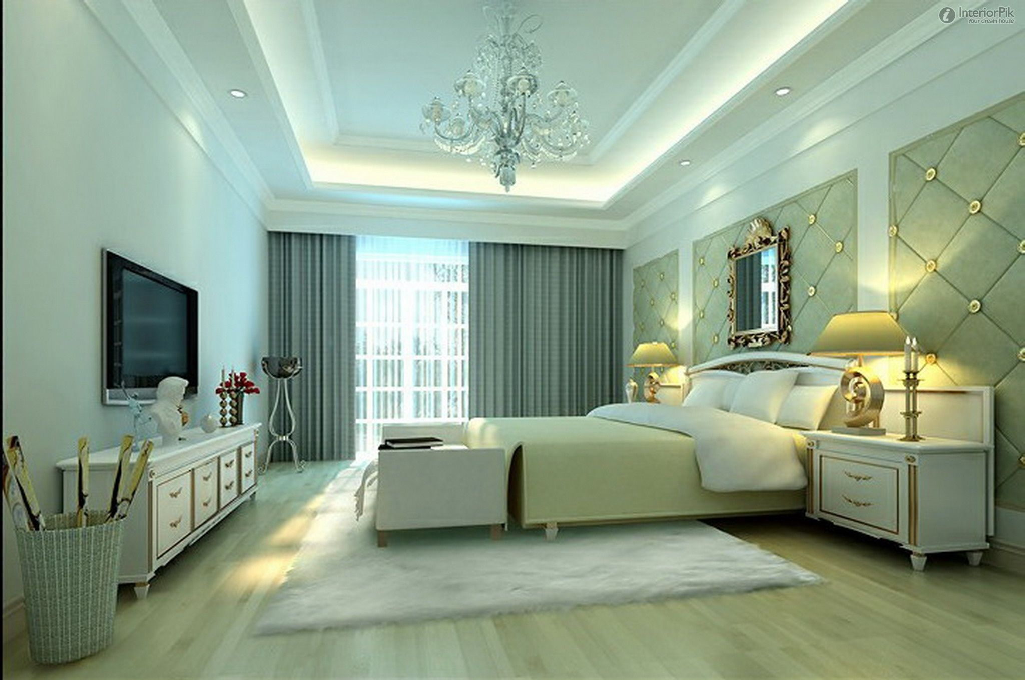 False ceiling with lights for bedroom with flat screen TV | Home ...
