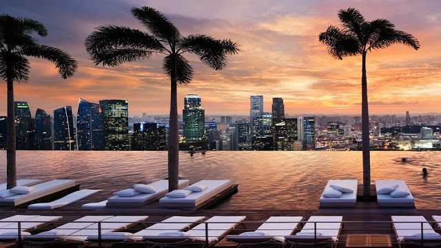 Most Beautiful Rooftop Pools In The World Sands Hotel Singapore