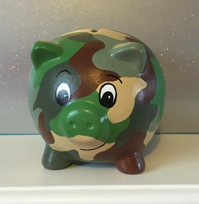 Military Army Camo Pig Hand Painted Piggy Bank Money Box Gift