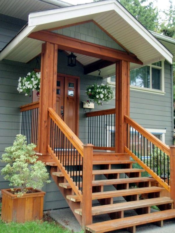 40 Lovely Door Overhang Designs Bored Art Front Porch Design Front Porch Steps House Exterior