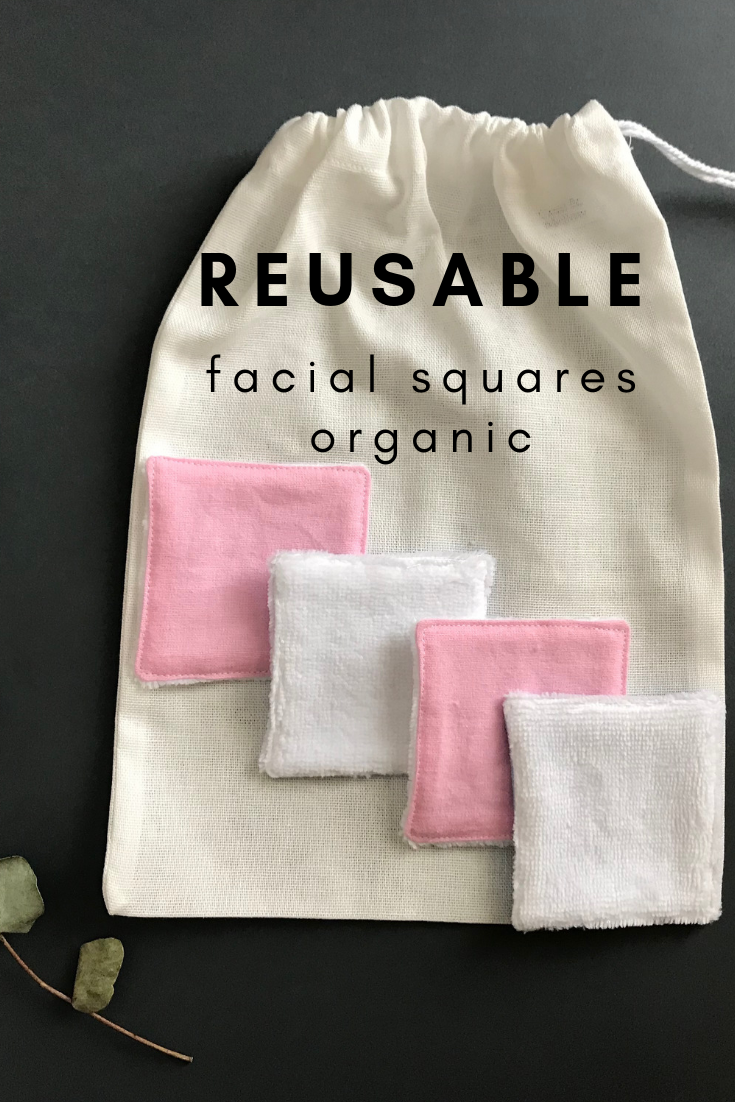 Pink and white reusable cotton rounds organic. Zero waste