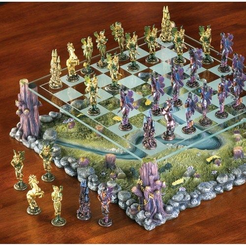 NEW MYTHICAL FAIRY CHESS GLASS BOARD GAME SET MINIATURE