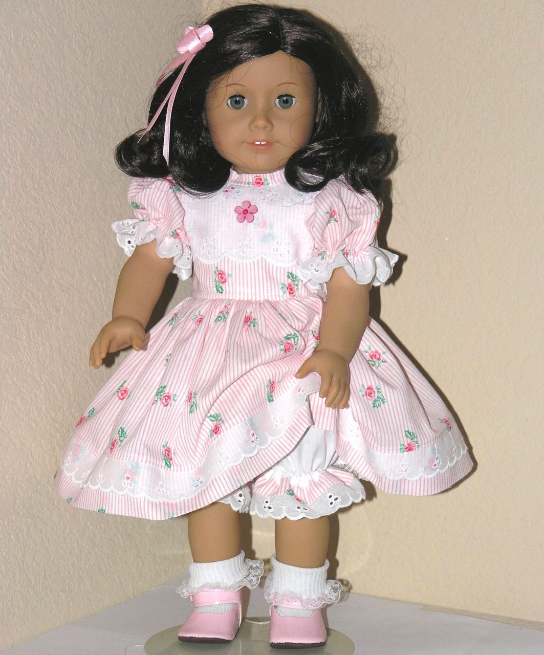 Handmade American Girl 18 inch Dress Kit,Ruthie Pink Rose Stripe