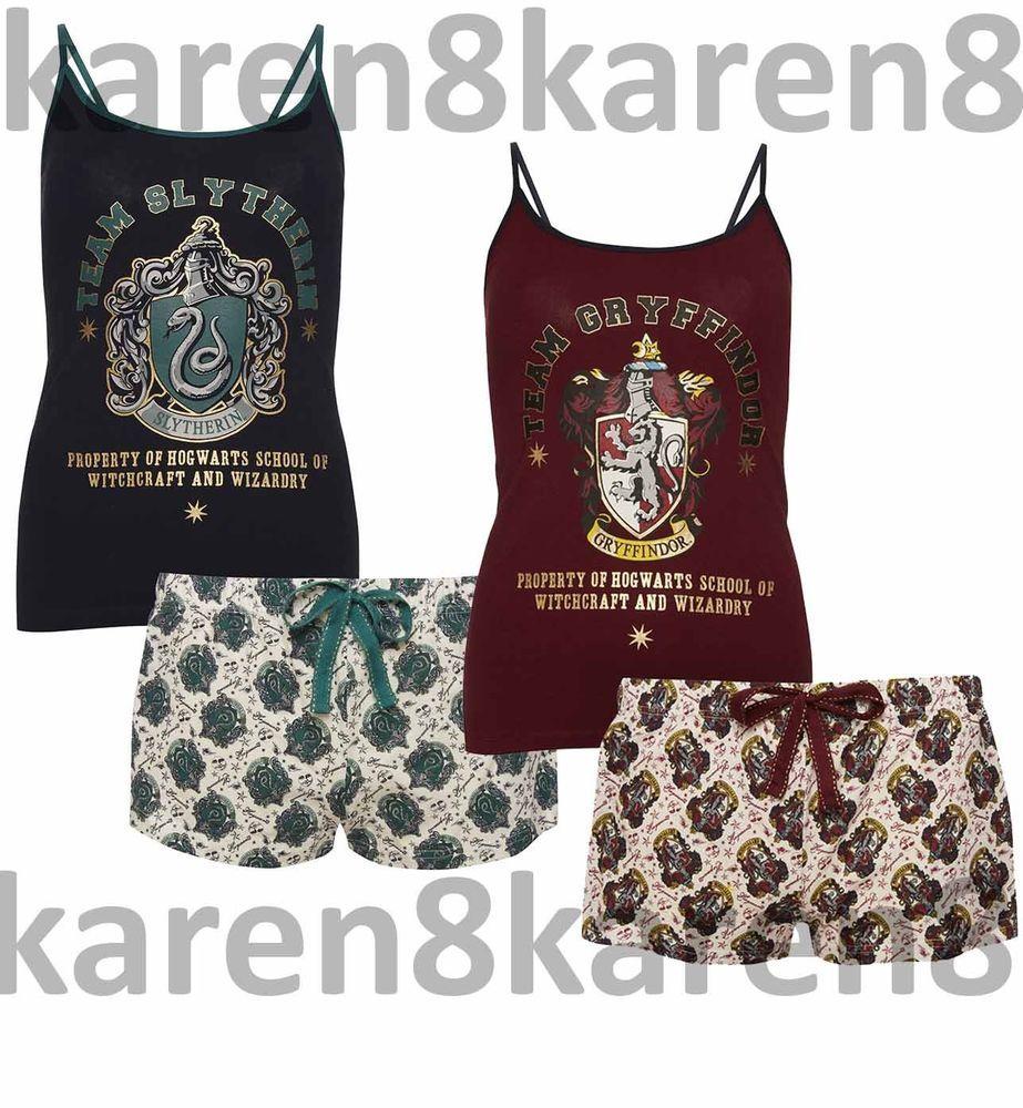 Harry Potter Pyjama Gryffindor OR Slytherin Pajama Set Ladies Primark Women/'s
