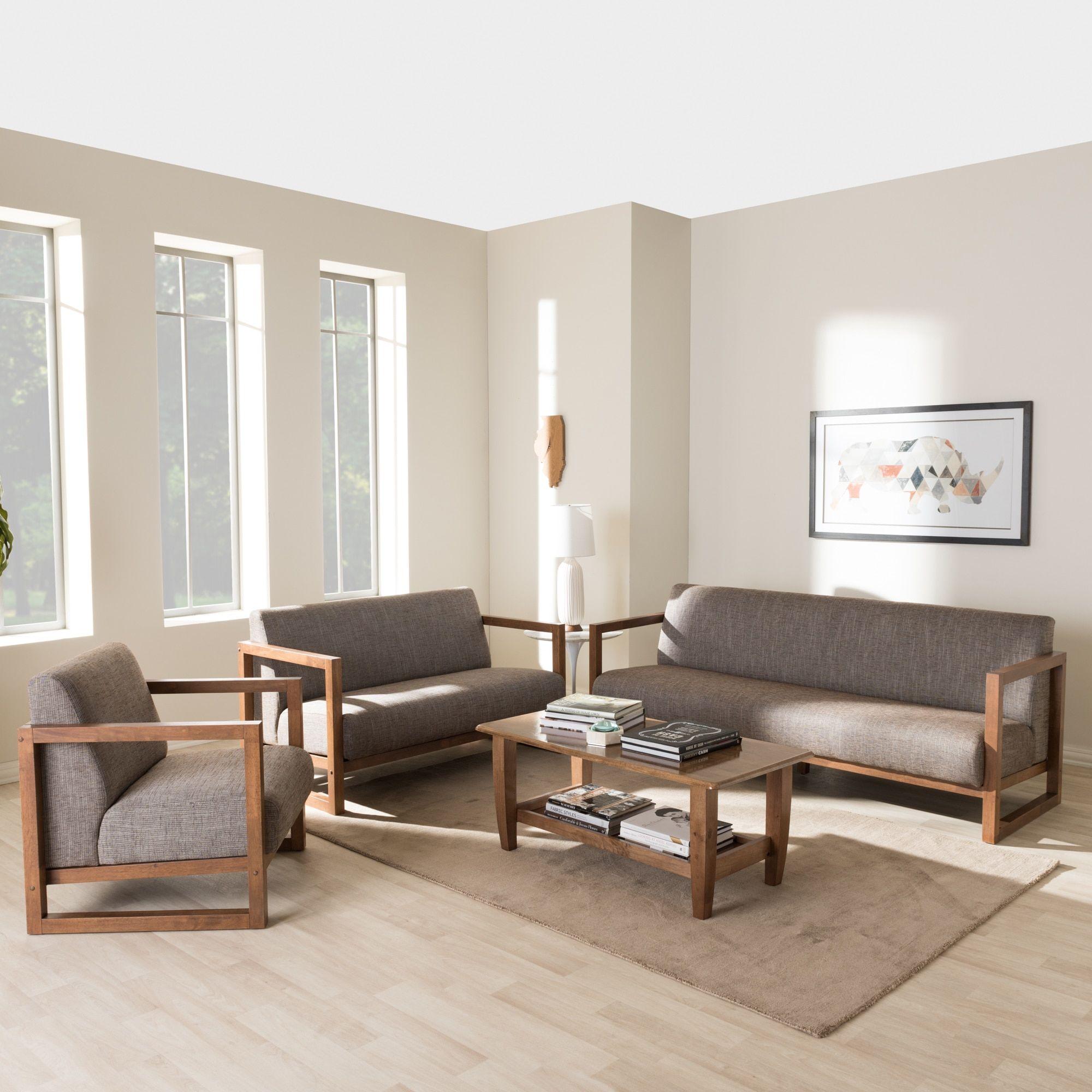 Baxton Studio Philomela Mid-Century Modern Walnut wood Finished Gravel Upholstered 3-Piece Living Room Set