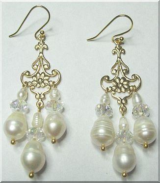 Victorian Pearl Drop Bridal Chandelier Earrings