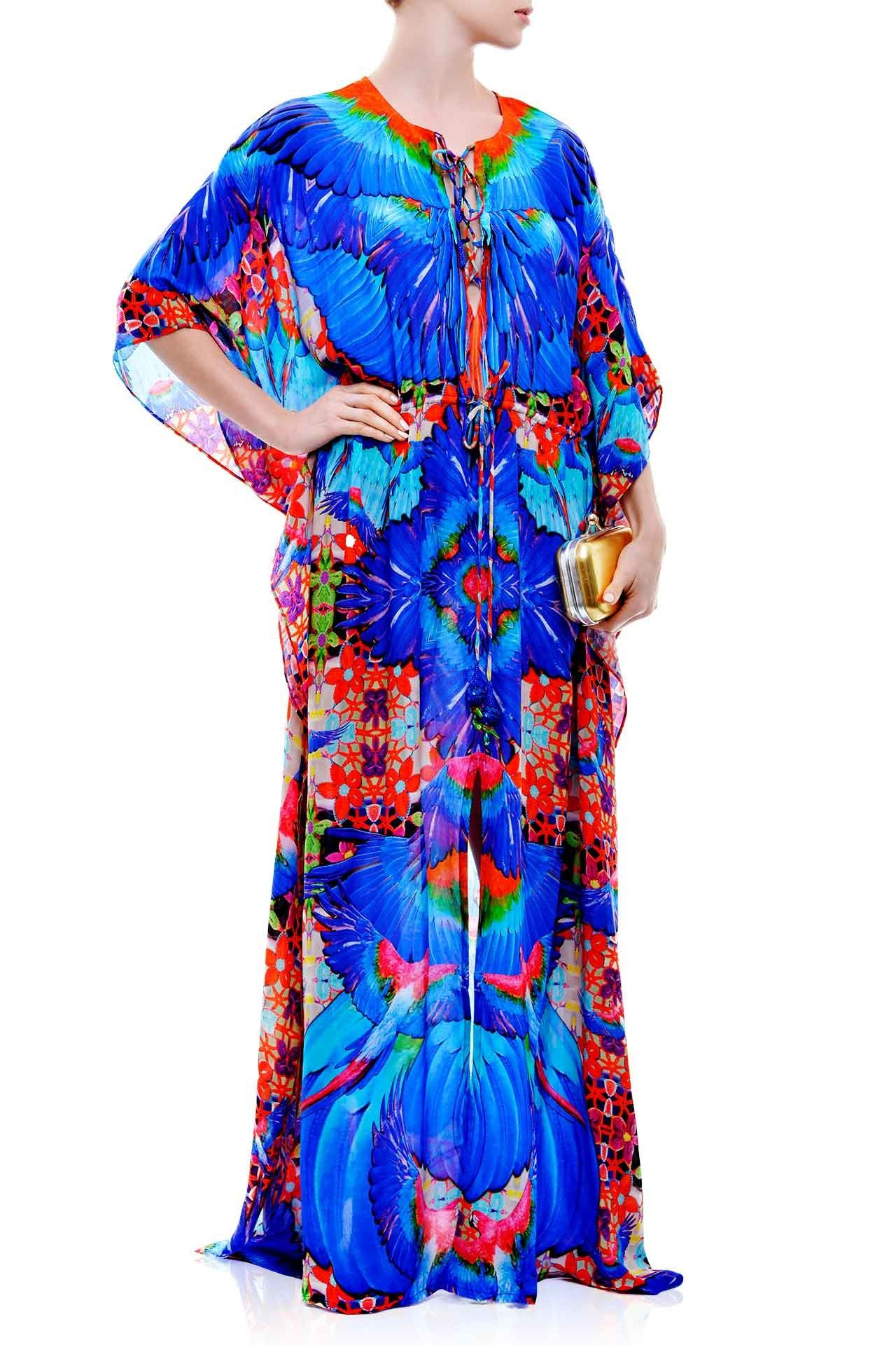 Blue dress tropical print long kaftan dresses designer kaftans