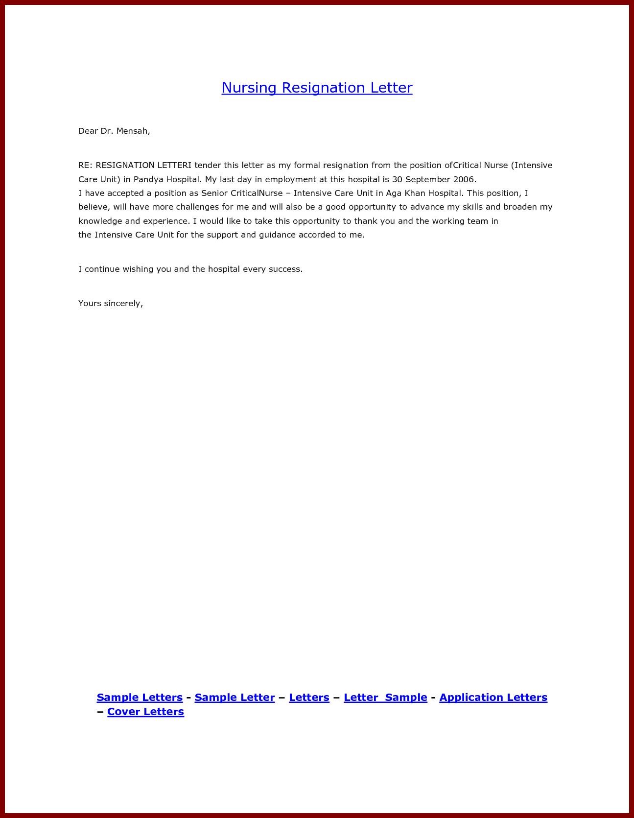 Nurse Resignation Letter Format Sendlettersfo Sample Png Nursing