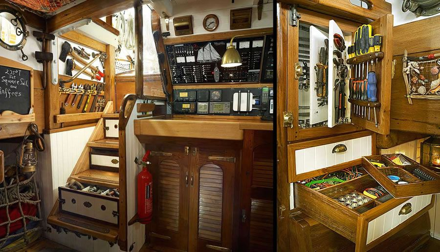 The Tool Storage Here Is Spectacular Boat Interior Sailboat Interior Boat Storage
