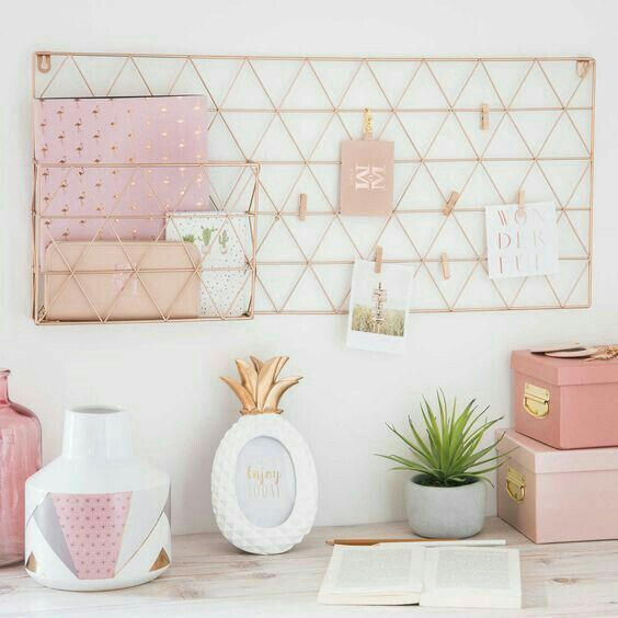 home office / desk / workspace decor in pink and rose gold ...