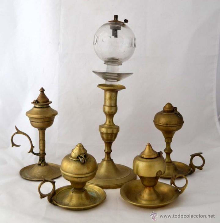 Lote de antiguas lamparas de aceite capuchinas siglo xviii - Lamparas cristal antiguas ...