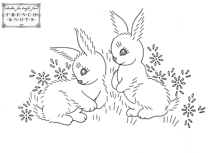 Hand Embroidery Transfer Pattern Of A Bunny Or Rabbit Jumping For