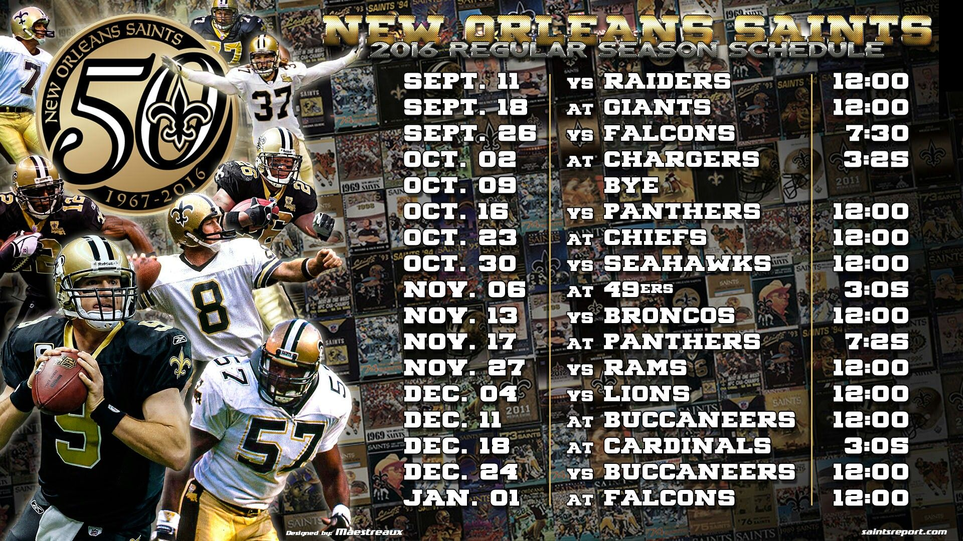 2016 new orleans saints schedule wallpaper New orleans