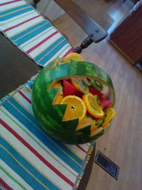 Easy to carve fruit basket out of watermelon. | Fruit ...