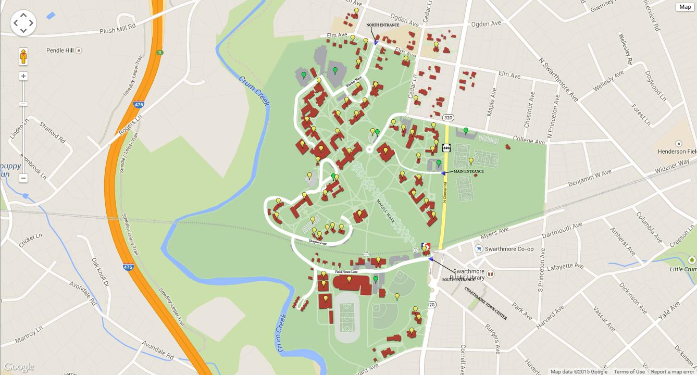 Swarthmore College Campus Map Philadelphia Campus Map