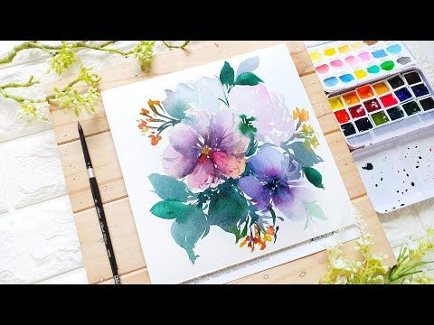 Muted Watercolor Florals Tutorial Real Time Video Youtube En