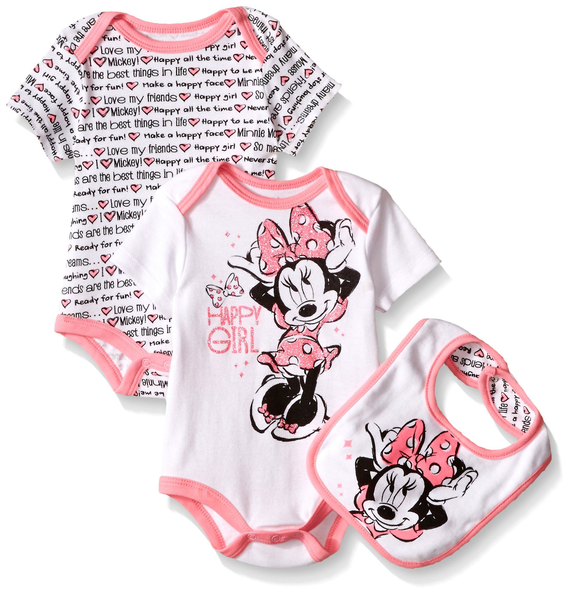 3fb247fd8 Amazon.com: Disney Baby Girls' Minnie Mouse 2 Pack Bodysuit with Bib:  Clothing