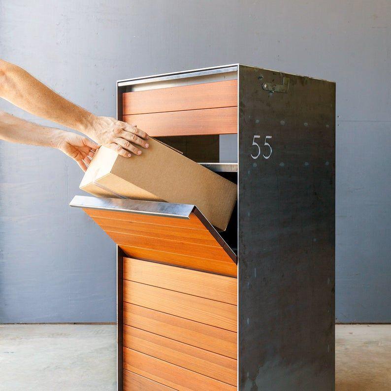 Stratford Parcel Mailbox Steel Ipe Wood Custom Steel Etsy In 2020 Letter Box Letter Box Design Modern Mailbox