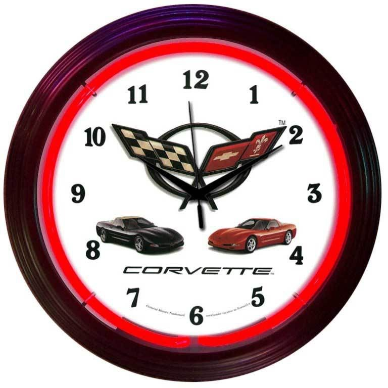 Chevrolet Corvette Neon Clock Vintage Sign Shack Neon Clock Wall Clock Glass Clock