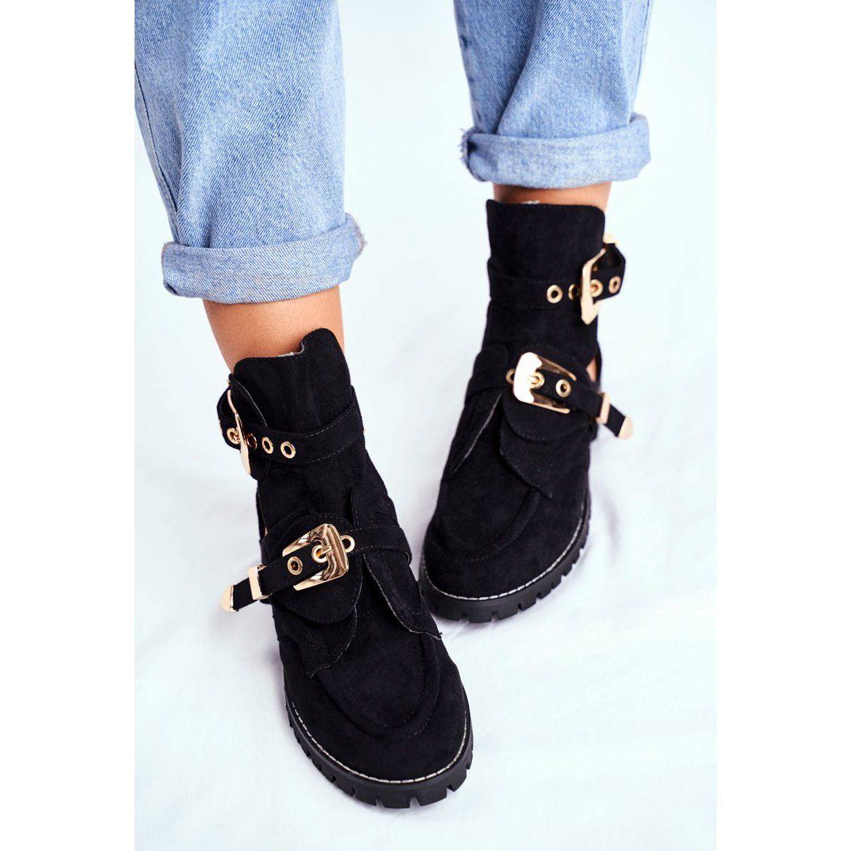Lu Boo Czarne Zamszowe Buty Z Wycieciami Rock Girl Girls Rock Boots Shoes