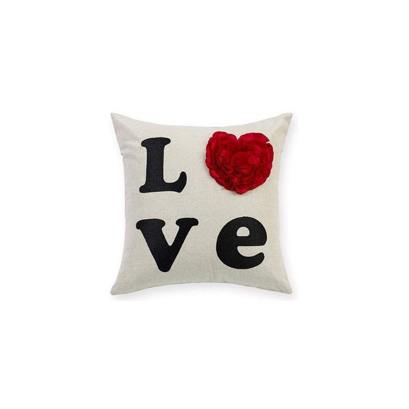 Mother S Day Gift Embroidery Love Heart Shaped Decorative Throw Pillow Cover Metallic Silver Linen Cushion Cover Birthday Anniversary Gift Decorative Throw Pillows Throw Pillows Throw Pillow Covers
