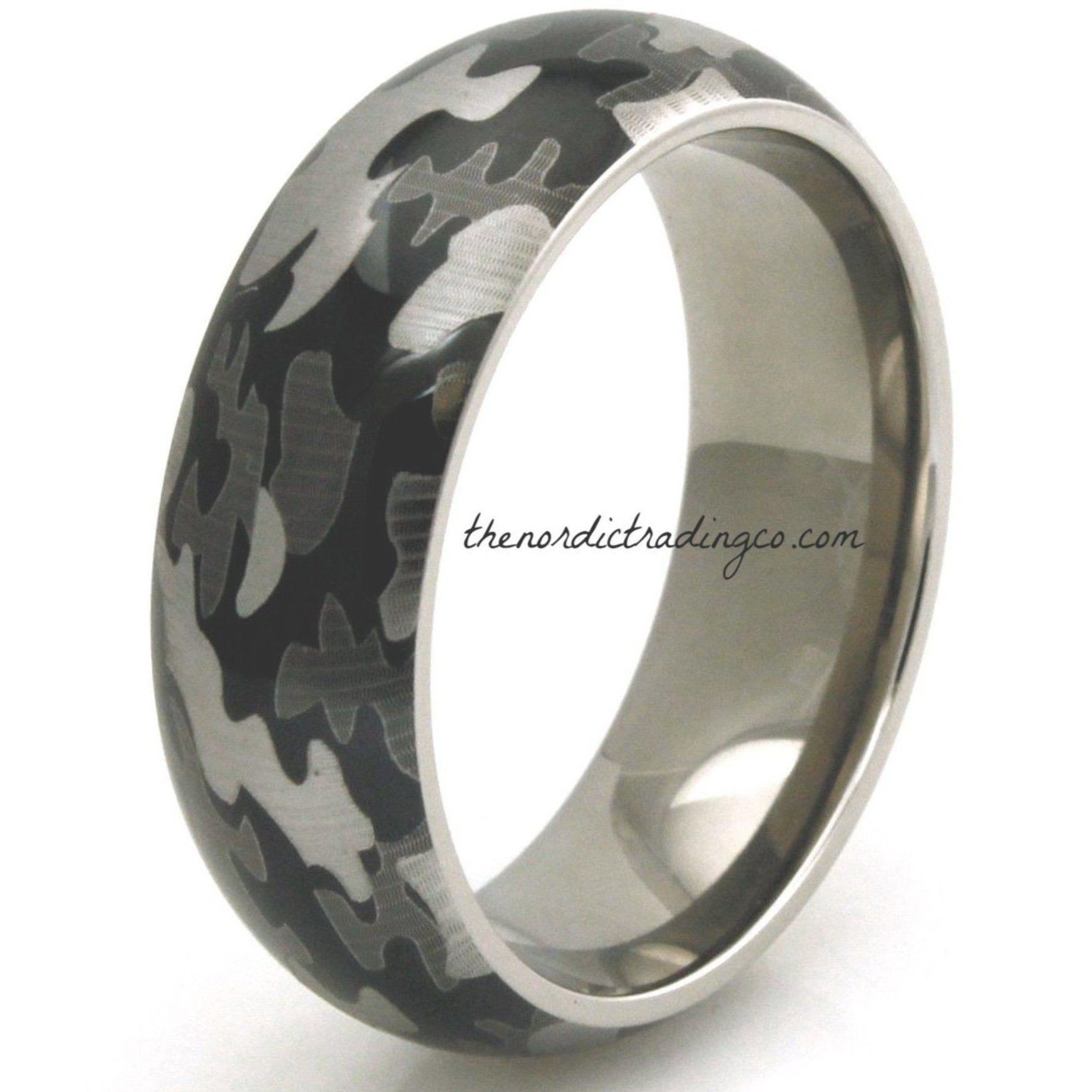 Men's Modern Camouflage Tungsten Wedding Ring / 8mm Band