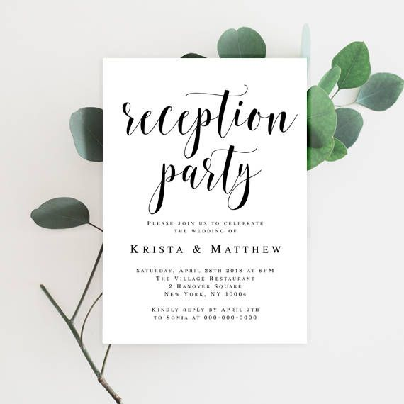 Wedding Reception Invitation Template Editable Invitation Editable