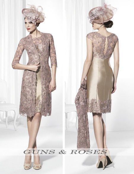 af31f8a1f505 Knee Length Mother Of The Bride Dress Long Lace Jacket 3 4 Sleeve Formal  Outfit