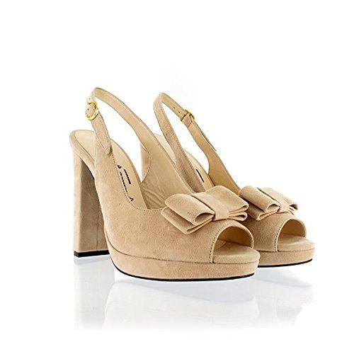 Jaimie Jacobs Damen Peeptoes Veloursleder Nude mit 11,5 cm Block-Absatz: Amazon.de: Schuhe & Handtaschen