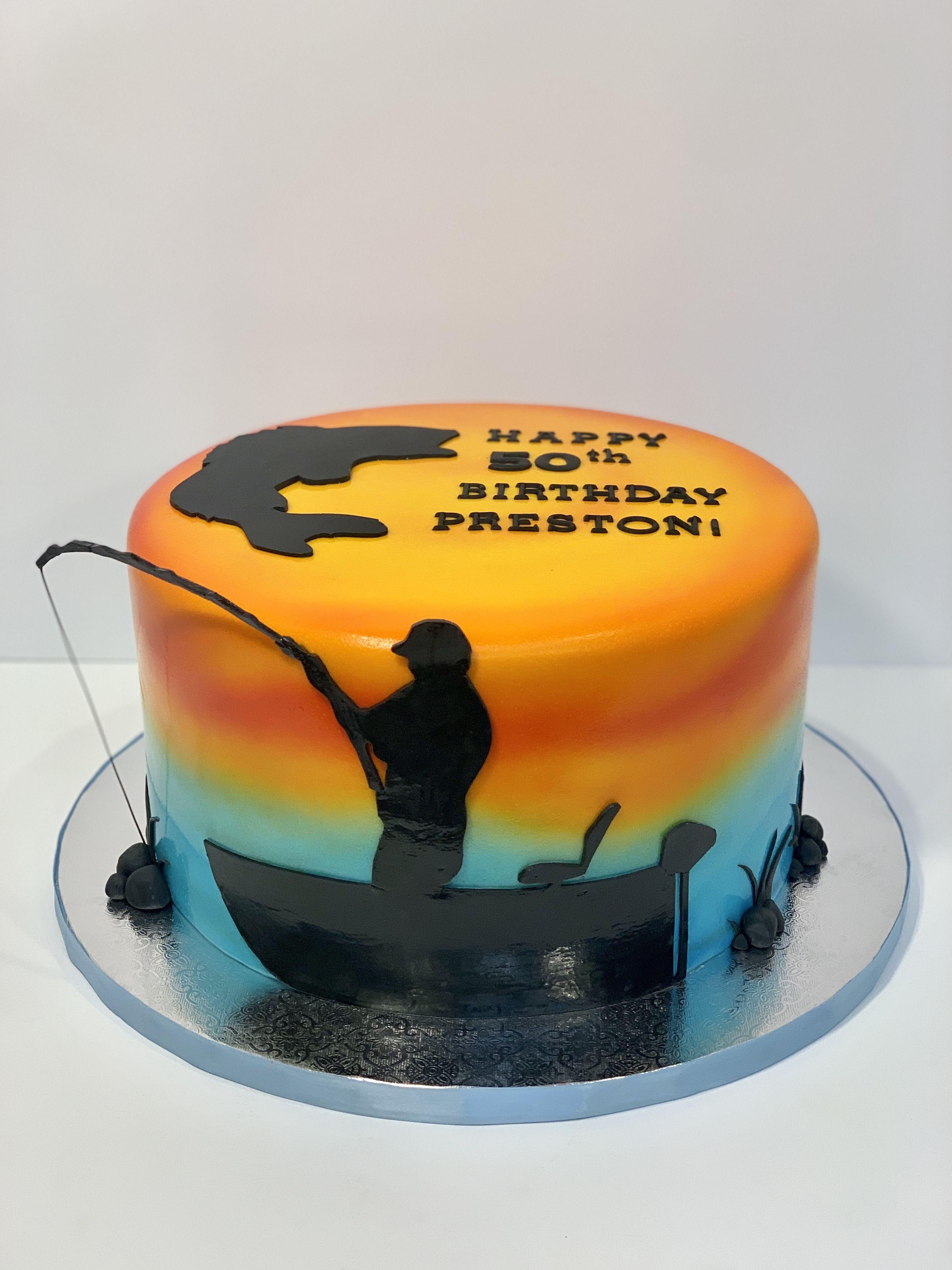 Prime Fishing Themed Birthday Cake With Handmade Fondant Fisherman Funny Birthday Cards Online Eattedamsfinfo