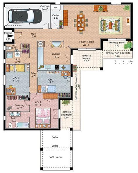 Maison de plain-pied avec trois chambres - Plan Gratuit De Maison Plain Pied