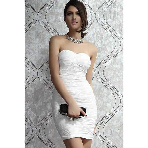 Maykool White Strapless Pleated Mini Party Dress ($23) ❤ liked on Polyvore featuring dresses, white, white strapless dress, embellished cocktail dress, cocktail mini dress, strapless cocktail dress and white strapless cocktail dress