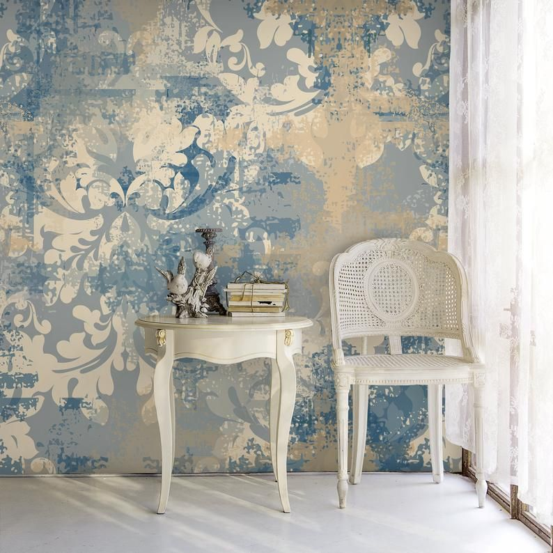 Baroque Style Damask Removable Wallpaper Blue Yellow Vintage Mural Retro Self Adhesive Decor Grunge Peel And Stick Paper Damask Removable Wallpaper Victorian Wallpaper Removable Wallpaper
