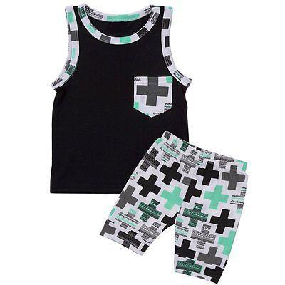 90a44f45e7ff 2pcs Toddler Infant Kids Baby Boy T-shirt Tops+Pants Summer Outfits  Clothing Set