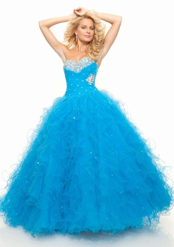 Sweetheart Brush Train Organza Ball Gown Blue Prom Dress   Dresses ...