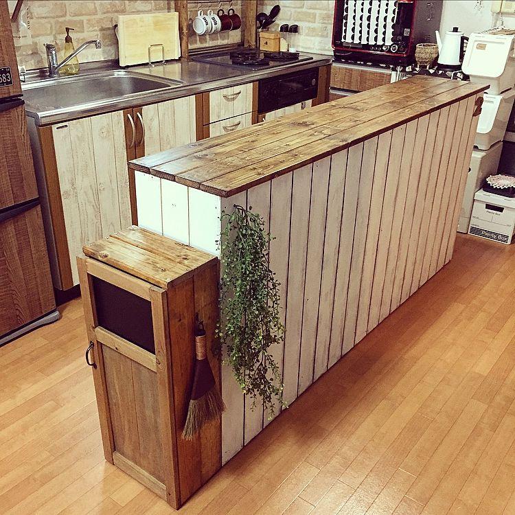 キッチン ゴミ箱diy 板壁風 カラーボックス キッチンカウンターdiy