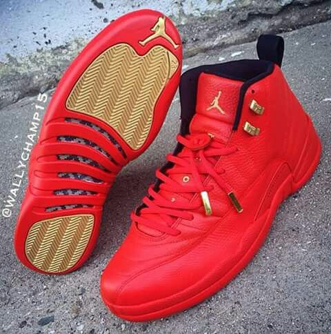 fea406fc398 Red & Gold Custom Jordan 12's | Jordan's | Shoes, Jordans, Jordan shoes