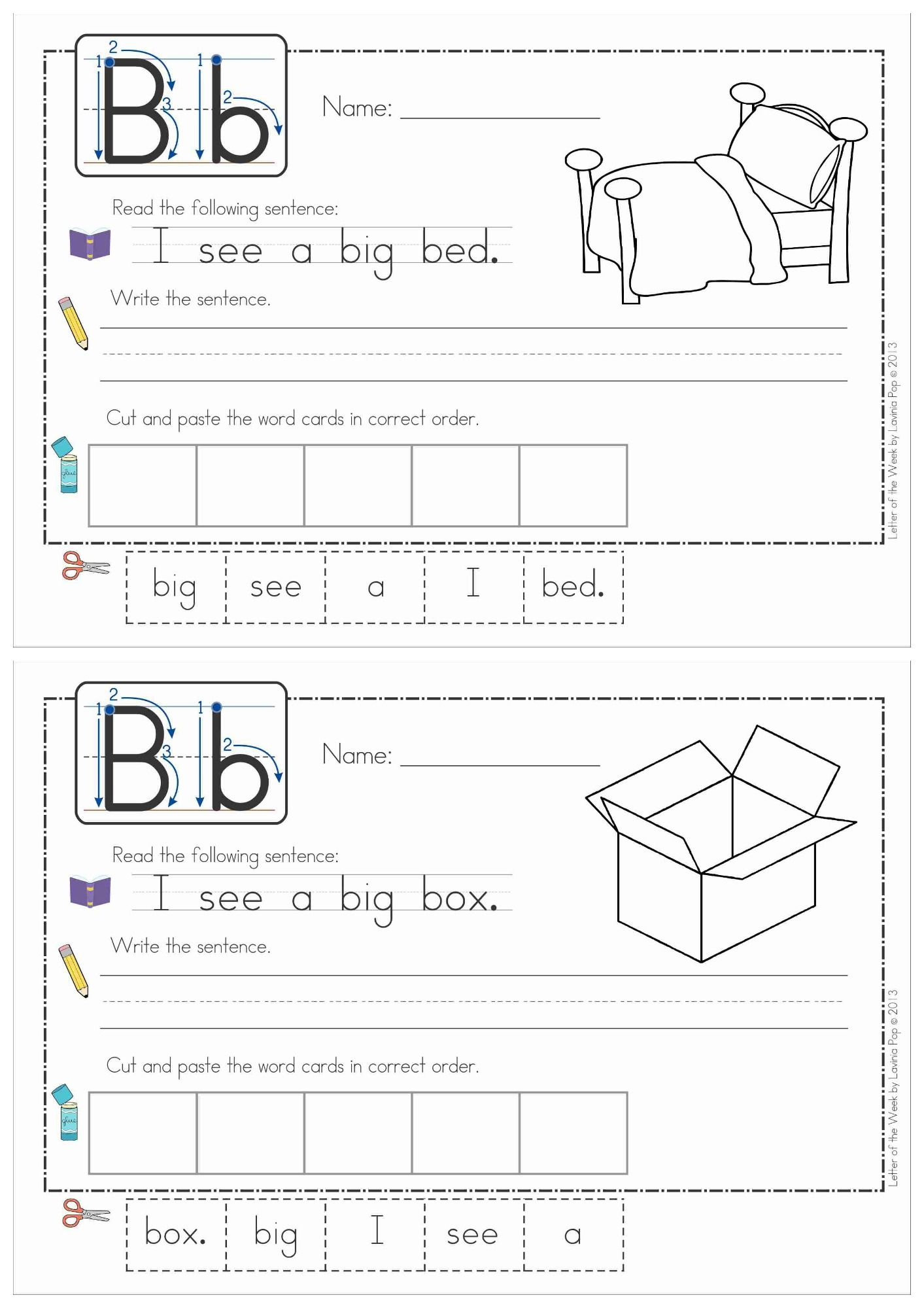 Build A Sentence Sentence Scramble Cut And Paste Worksheets