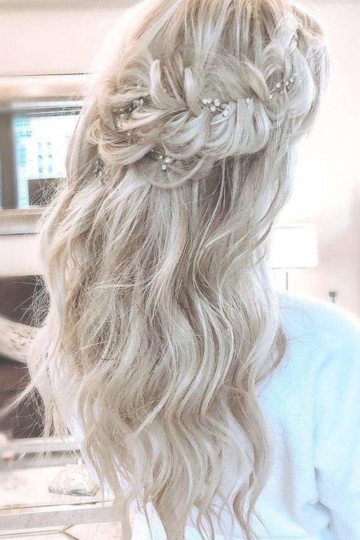 wedding hairstyles for thin hair long blonde half up half ...