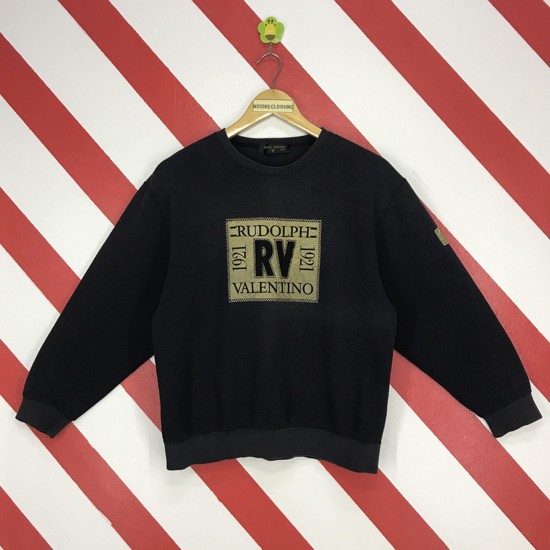 Vintage rudolph valentino 90/'s sweatshirt crewneck jumper big logo embroidery very rare item!!!