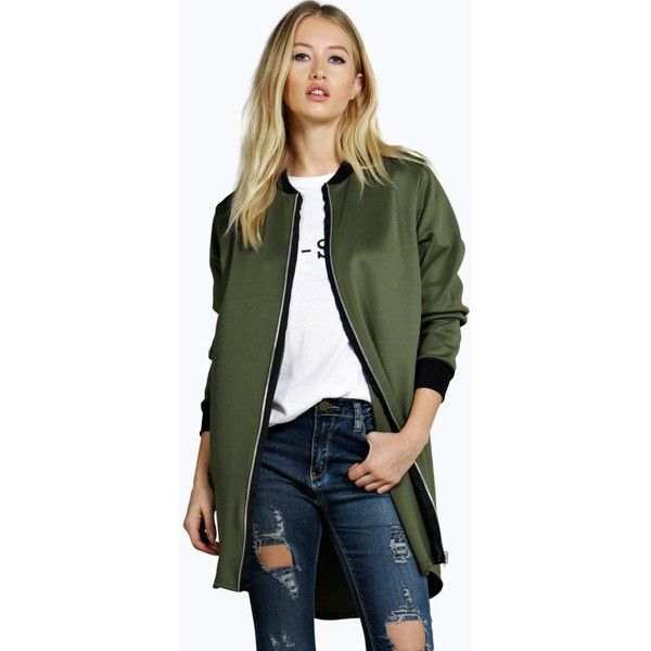 Womens Longline Duster Bomber Jacket