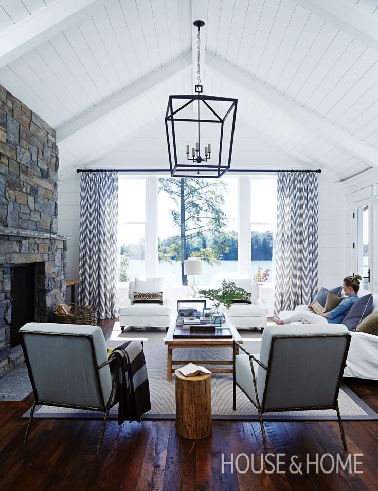 Track lighting fixtures · curtain ideas luxurious cottage living room on lake muskoka by cameron macneil