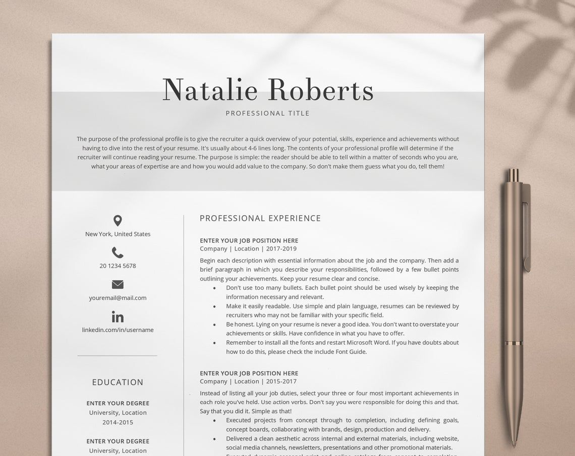 Lebenslauf Vorlage Cv Template Simple Cv Template Word Etsy Resume Cover Letter Template One Page Resume Template Cover Letter For Resume